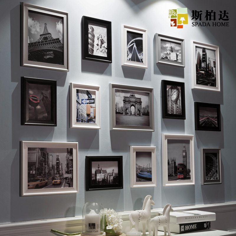 Wooden Photo Frame Set 15pcs Set Black And White Vintage