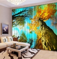 Yellow tree forest Bedding room 3D Curtains 3D Window Curtains For Bedding room Factory diret sale