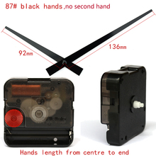 12888SA Snap In Type wall clock mechanism with 87# black longhands Silent Plastic DIY Clock Accessory kits Sweep Quartz Movement
