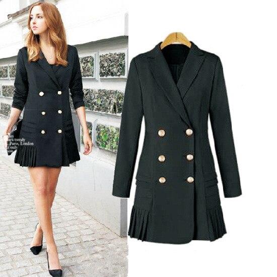 Nice Office Lady femmes manteaux col rabattu de base femmes Trench manteaux à manches longues poche Double boutonnage formel vêtements d'extérieur manteau