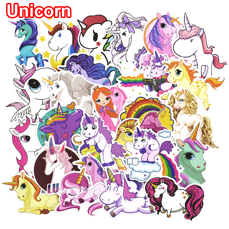 30 Pcs Colorful Cute Unicorn Stickers for Laptop Car Styling Phone Luggage Bike Motorcycle Mixed Cartoon Pvc Waterproof Sticker 230 pcs rick and morty cartoon pvc waterproof sticker for luggage skateboard phone laptop moto trunk guitar car diy stickers