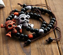 Bracelets and bracelet pirate skull beads for men women lovers  Halloween gifts