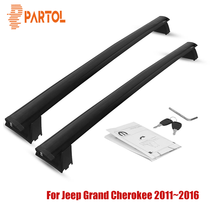 Partol Car Roof Rack Cross Bars Crossbars Aluminum 68 kg/150LBS Cargo Luggage Carrier Top for Jeep Grand Cherokee 2011-2016 partol 110cm universal car roof rack cross bars crossbars with anti theft 68 kg 150lbs aluminum cargo luggage top carrier