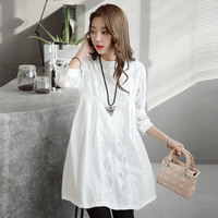 Maternity Clothes Loose Flower Embroidery Lace Hollow Out Long Sleeve T Shirt White solid pregnant clothing Mid length Tops