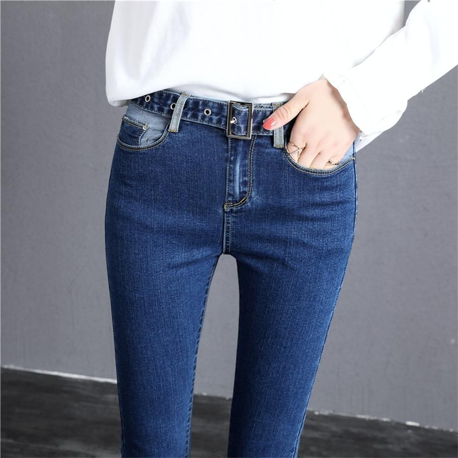 Moda Cintura Lápiz Elástico De Jeans Pantalones Mujeres Azul Mujer Tobillo  Casual Patchwork Skinny Denim Para ... c505febf0978