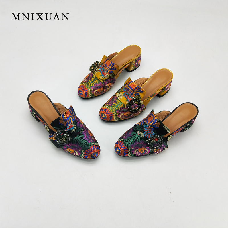 MNIXUAN women slippers sandals summer 2018 new mules genuine leather embroidered round toe thick heels height 6cm big size 34-43 american edison loft style rope retro