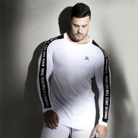 2018 New Men Long sleeves Elasticity Tight t shirts muscle Man Gyms Fitness Bodybuilding Jogger Brand clothing Plus size M-XXXL