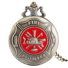 RED FIREFIGHTER POCKET WATCH Quartz Vintage Retro Analog Clock Necklace Pendant Firefighter Gift Relogio De Bolso Dropshipping