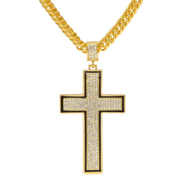 Mcsays hot sale hip hop necklace curved simple cross pendant with mcsays hot sale hip hop necklace curved simple cross pendant with crystal and black borders aloadofball Images