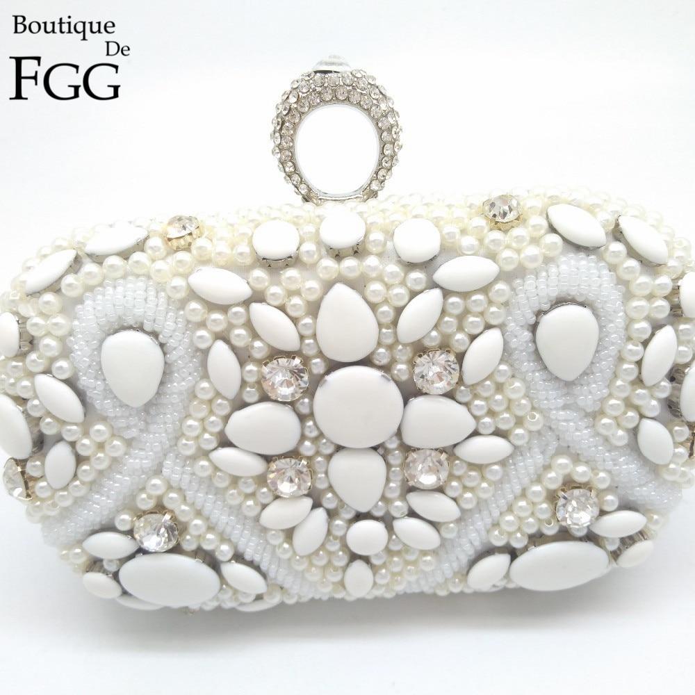 ФОТО Lady Bridal Wedding White Metal Crystal Clutches Beaded Pearl Evening Bag Rhinestone Beading Clutch Bags Women Bolsa Knucklebox