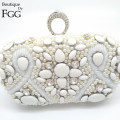 Lady Bridal Wedding White Metal Crystal Clutches Beaded Pearl Evening Bag Rhinestone Beading Clutch Bags Women Bolsa Knucklebox