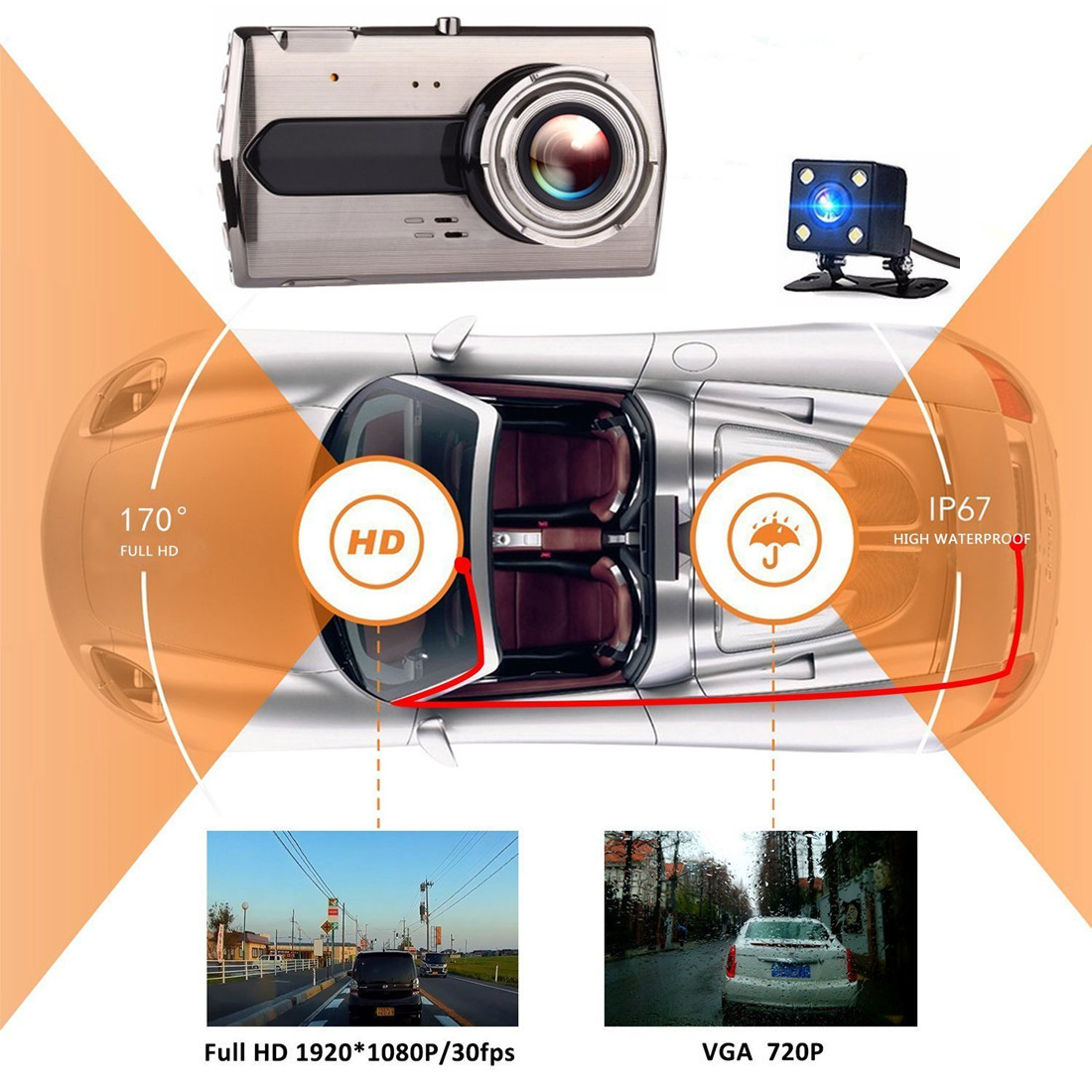 Great Stability AELEGASN Cycling Dash Cam Full-HD LED Front Light Bat Eye WiFi Digital Video 1080P LED Waterproof