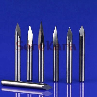 5PCS 3.175*0.1mm 15 Degree 3 Edge Carbide Engraving Tools For CNC Router Machine 3 Face Stone Carving Bits