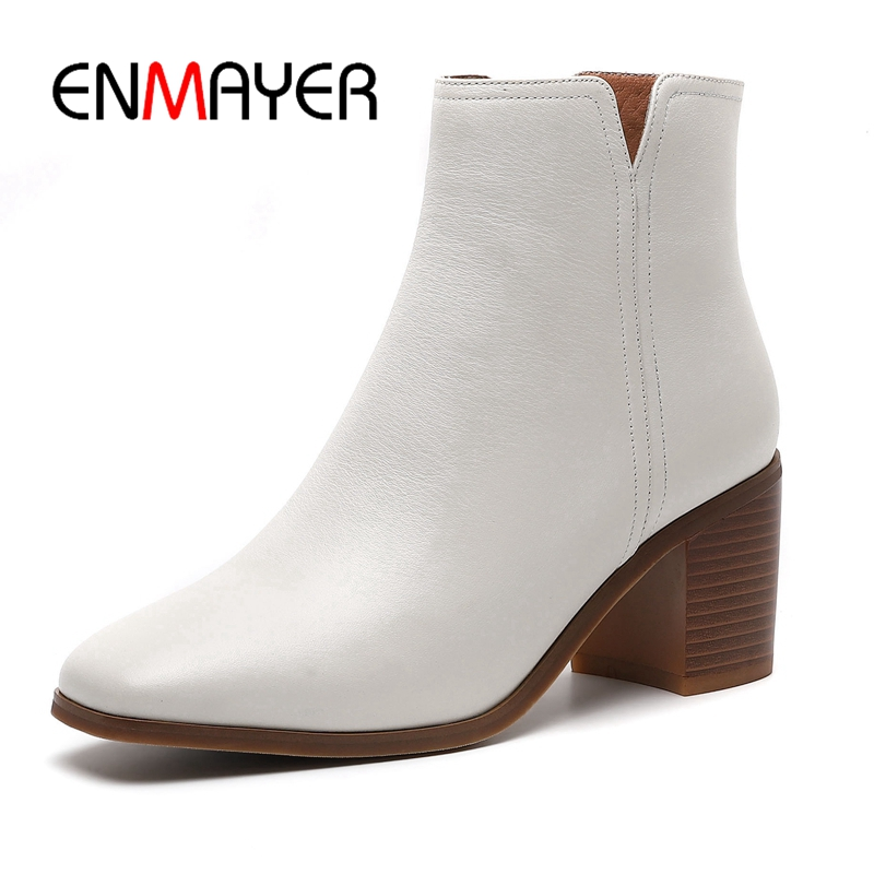 ENMAYER  New fashion square toe high heel boots women ankle boots women zipper boots square heel boots Size 34-40 ZYL942ENMAYER  New fashion square toe high heel boots women ankle boots women zipper boots square heel boots Size 34-40 ZYL942