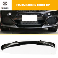 X5 Real Full Carbon Fiber Front Bumper Lip Chin Spoiler Protector for BMW F15 X5 28i 35i with M Package 2014 2018