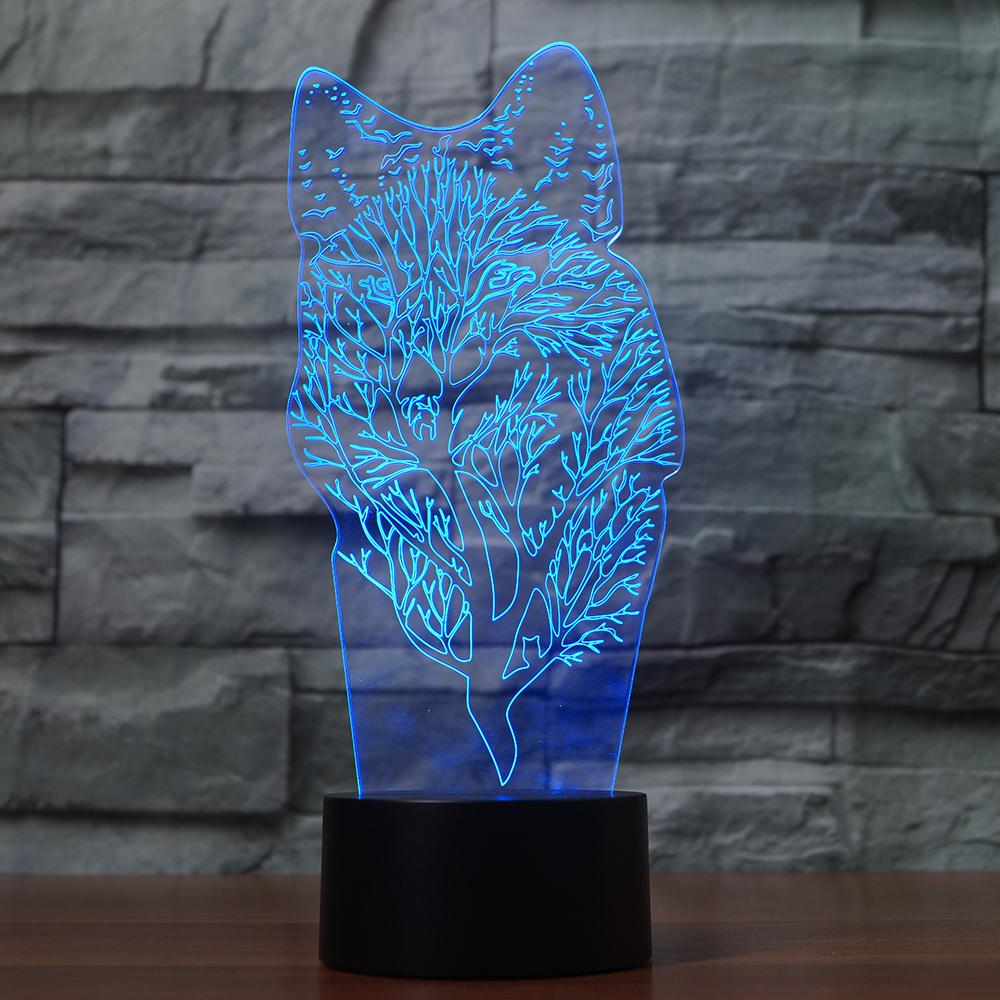 Wolf 3D Lamp Visual Led Night Lights Colorful Touch AA Batteries /USB Desk Table Aniamal Lampara Lampe Baby Sleeping Nightlight