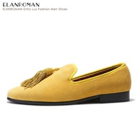 ELANROMAN Handmade Tassel Loafers Shoes Men Party Dress Shoes Loafers Gentleman Shoes
