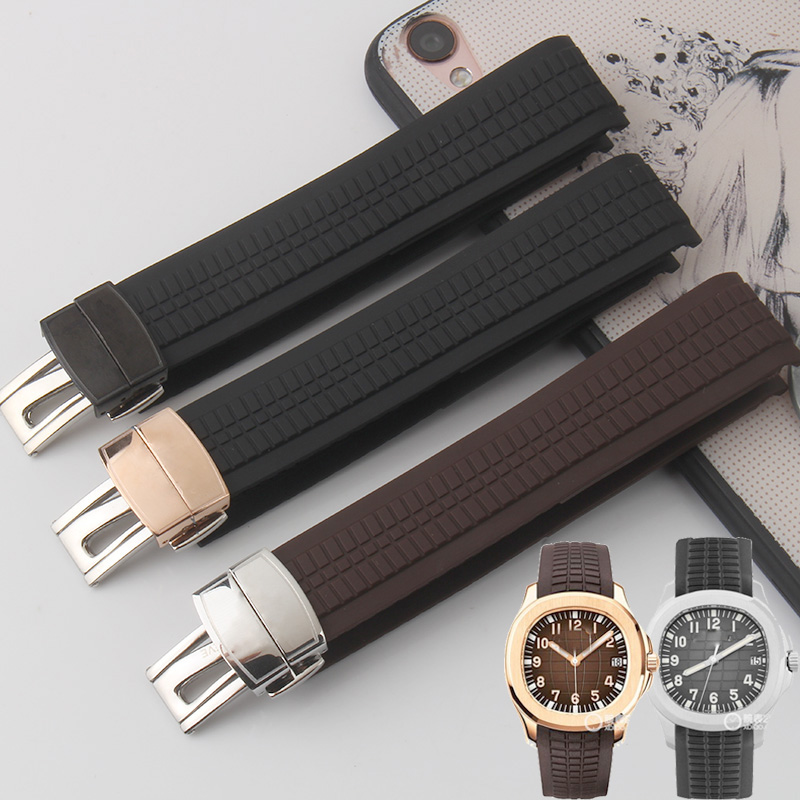 Silicone Strap 21MM Black Brown Blue Arc Strap Rubber Strap For PP AQUANAUT 5167R-001 / 5167A-001 Mechanical Strap