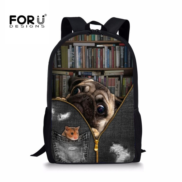 FORUDESIGNS Puzzle Pug Dog 3D Printing School Backpacks for Boys Orthopedic  School Bag Primary Students Bookbag Mochila Dropship