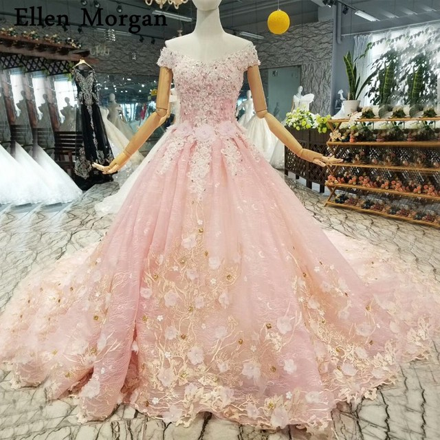 Elegant Pink Lace Ball Gowns Wedding Dresses for Women Off Shoulder Corset  3D Flowers Crystal Custom Made Bridal Gowns 2019 0d7b6227ffb0