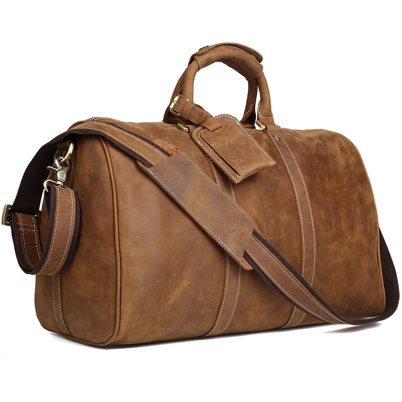 TIDING Leather Travel Bag Men Women Large Capacity Vintage Outlook Carry On Bag Luggage 3061 tiding unisex large 100