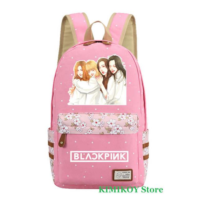Online Shop 2018 Cute Kpop Blackpink Backpack Jennie Lisa Rose Bag