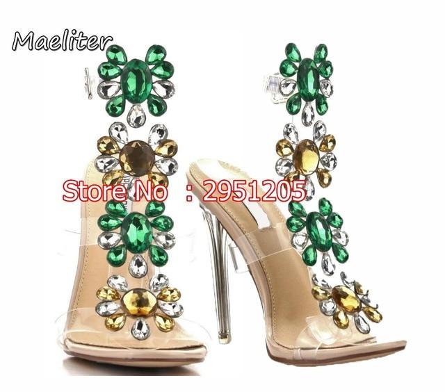 9b2c14350ca60 Amazing Lady Rhinestone Stiletto High Heels Sandals Flower Crystal Sexy  Clear Transparent PVC Sandals Shoes Summer Dress Shoes