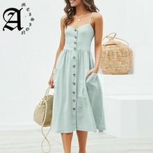 Ameision women dress Elegant button Pocket polka dots cotton midi Summer casual female plus size lady beach vestidos