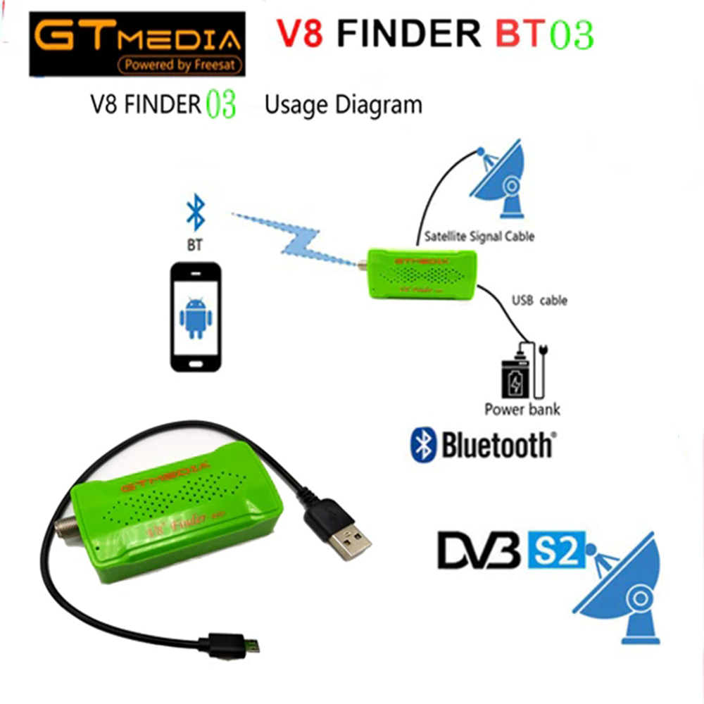 GTMEDIA V8 Satellite Finder BT03 for freesat v7 hd Satellite Finder Satellite Signal Finder Connect your phone through Bluetooth-in Satellite TV Receiver from Consumer Electronics