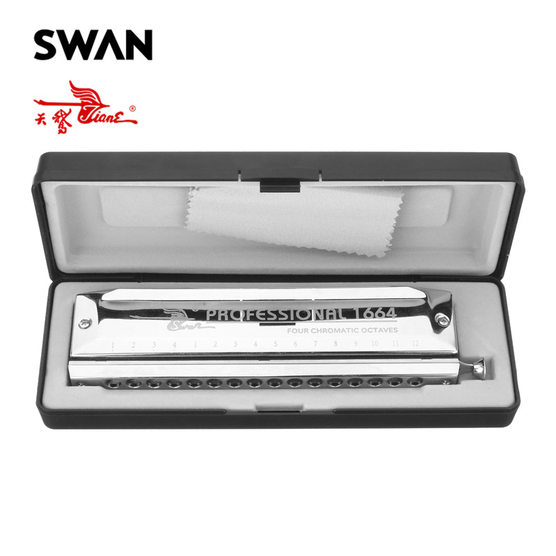 Swan 16 Holes 64 Tones Chromatic Harmonica Laser Proceeded Square High-end Musical Instruments Woodwind Silver Harp SW1664-2 swan chromatic harmonica 16 hole 64tune golden professional harp instrumentos chromatic square mouthpiece thicken the cover