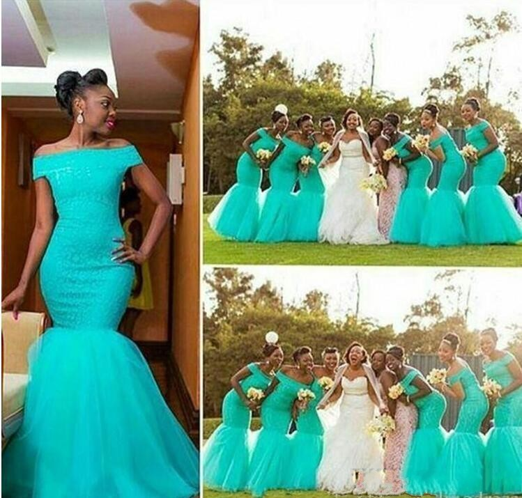 Aqua Lace Country   Bridesmaid     Dresses   for Wedding Off Shoulder Mermaid Long Tulle Maid of Honor Wedding Guest Party Gowns Custom