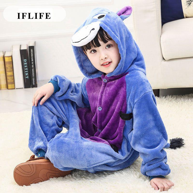 Pijama Infantil Onesie Hooded Kids Animal Cartoon Pajama Donkey Blue Children Boy Girl Unisex Pyjama