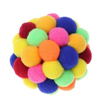 Pet Cat Toy Colorful Lovely Handmade Bells Bouncy Ball Built In Catnip Interactive Toy Great