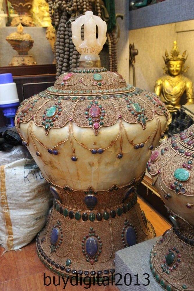 34 Huge Collection Natural Crystal Inlay Gem Pot Jar Crock Cans Incense Burner
