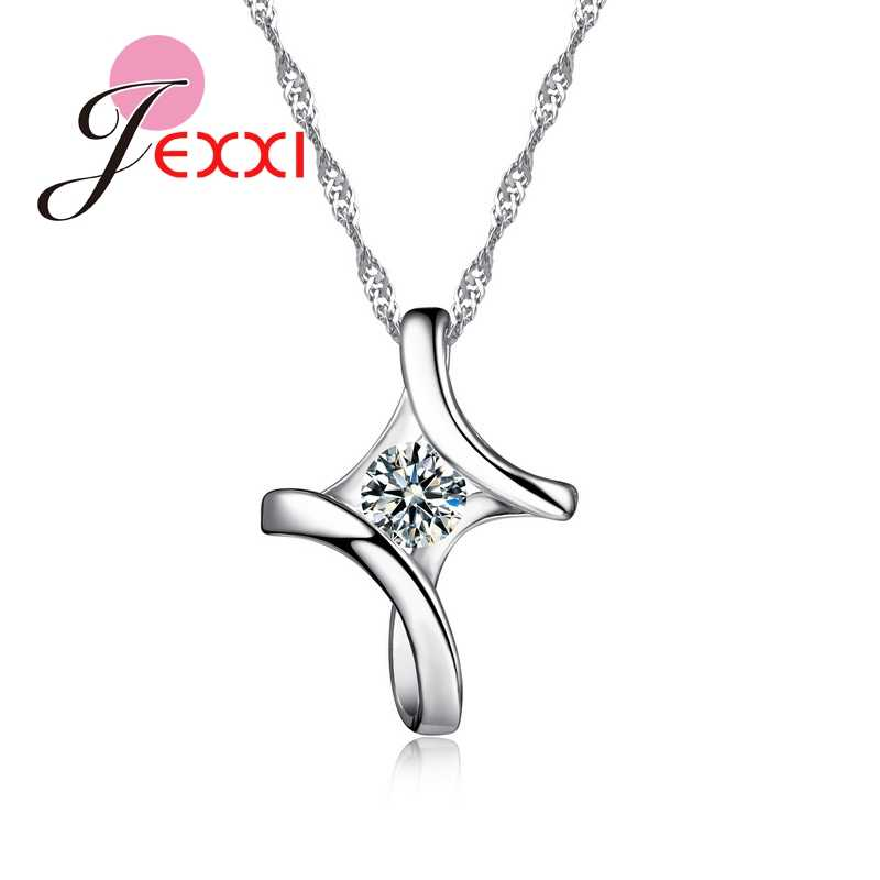 Big Promotion Classic Elegant Style CZ Crystal Striking Jewelry 925 Sterling Silver Pendant Necklace For Charming Women