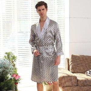 Image 3 - New Luxury Bathrobe Mens Print Plus Size Robe With Shorts 2 Pcs Silk Satin Pajamas Kimono Home Bath Gown Summer Male Nightgown