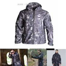 TAD New Shark Skin Outdoor Hunting Camping Waterproof Windproof Jacket  Softshell Jacket+pants Camouflage Men Tactical Sets 2018 new sitex open country hunting jacket pants jetstream jacket