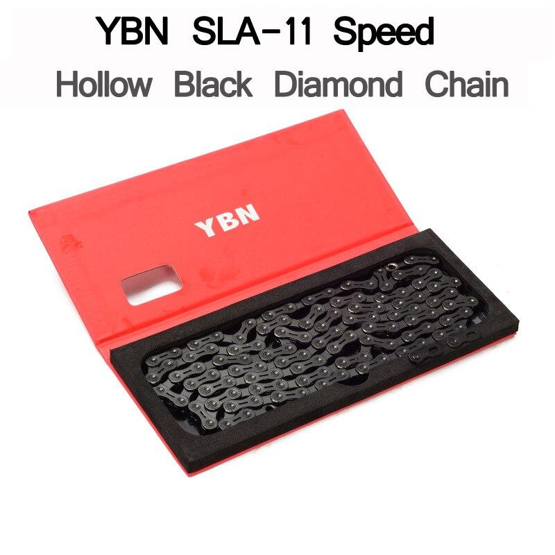 YBN SLA 10 11 Speed Bike Chain Hollow Black Diamond MTB Road Bicycle For shimano SRAM Campanolo System