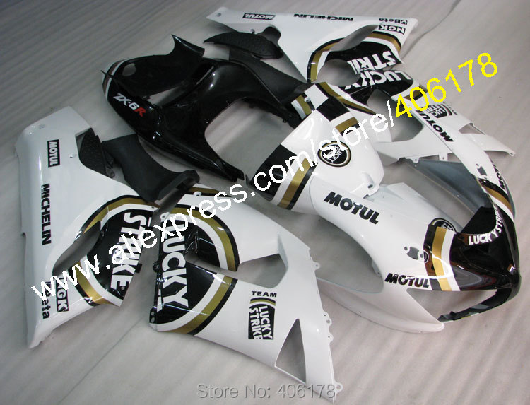 Hot Sales,For ZX 6R 05 06 Kawasaki Ninja ZX6R 2005 2006 ZX-6R 636 ZX636 LUCKY STRIKE moto fairing kit (Injection molding)