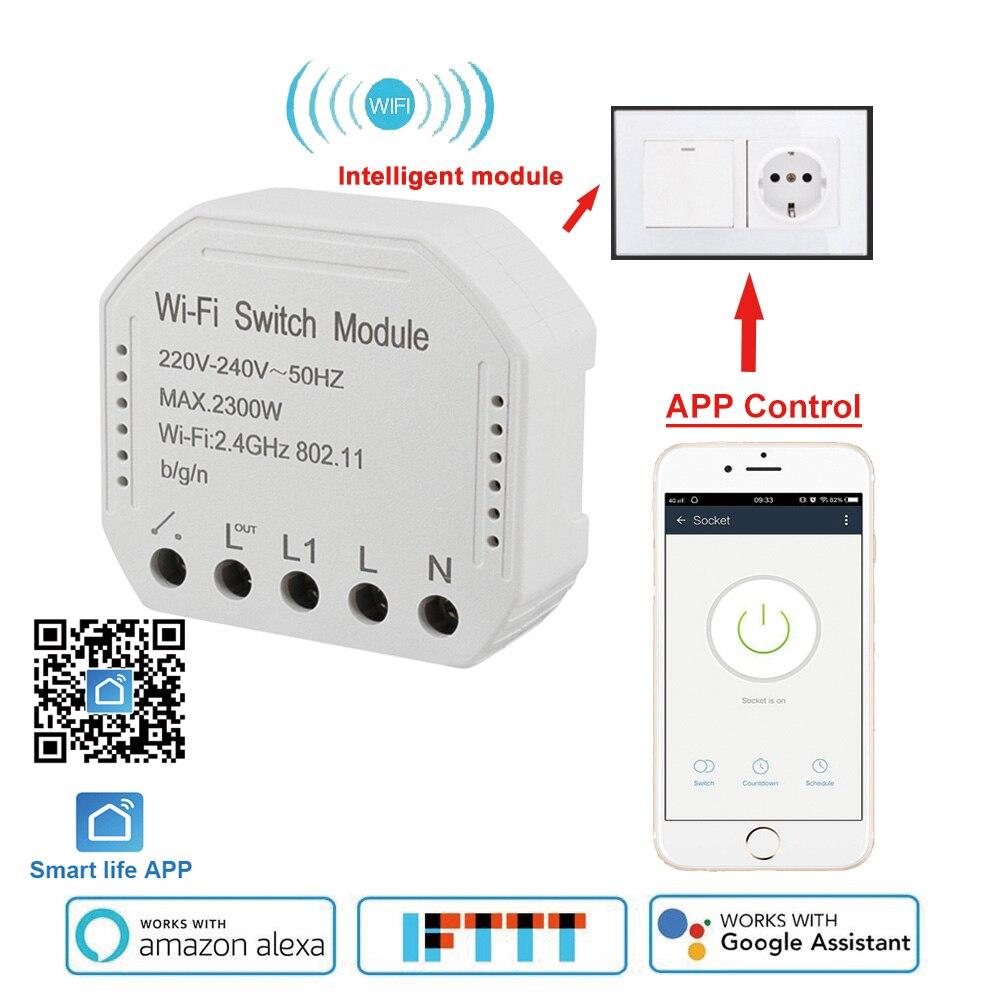 App Smart Life Wifi commutateur intelligent module 220-240V 2300W contrôleur minuterie interrupteur de lumière commande vocale travailler avec Amazon Alexa Google