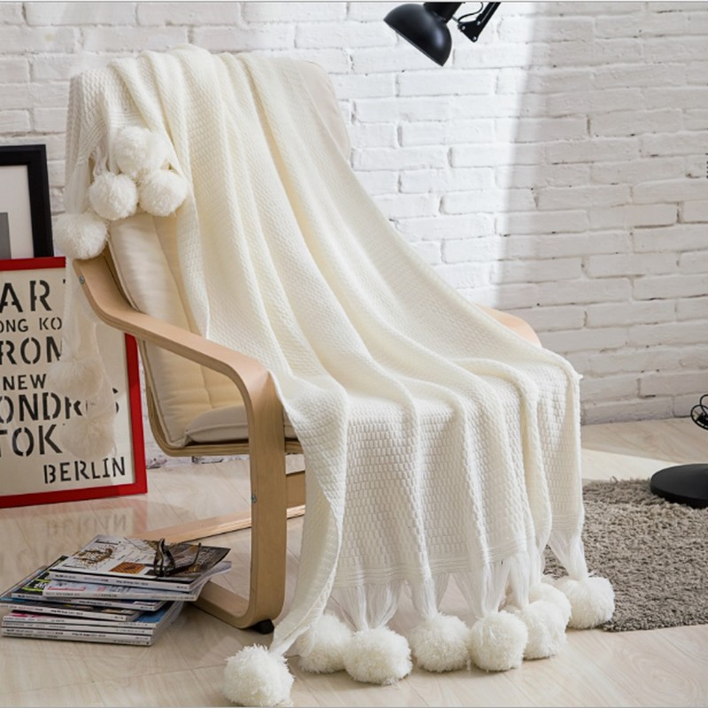 100% coton pompons coton tricoté couverture de canapé couvertures literie sieste jette adultes et enfants meilleur accueil couverture à tricoter