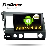 Funrover Android 8.0 2 din Car dvd Head Unit 10.1 inch for Honda Civic 2006 2011 GPS Radio tape recorder RDS BT wifi usb no dvd