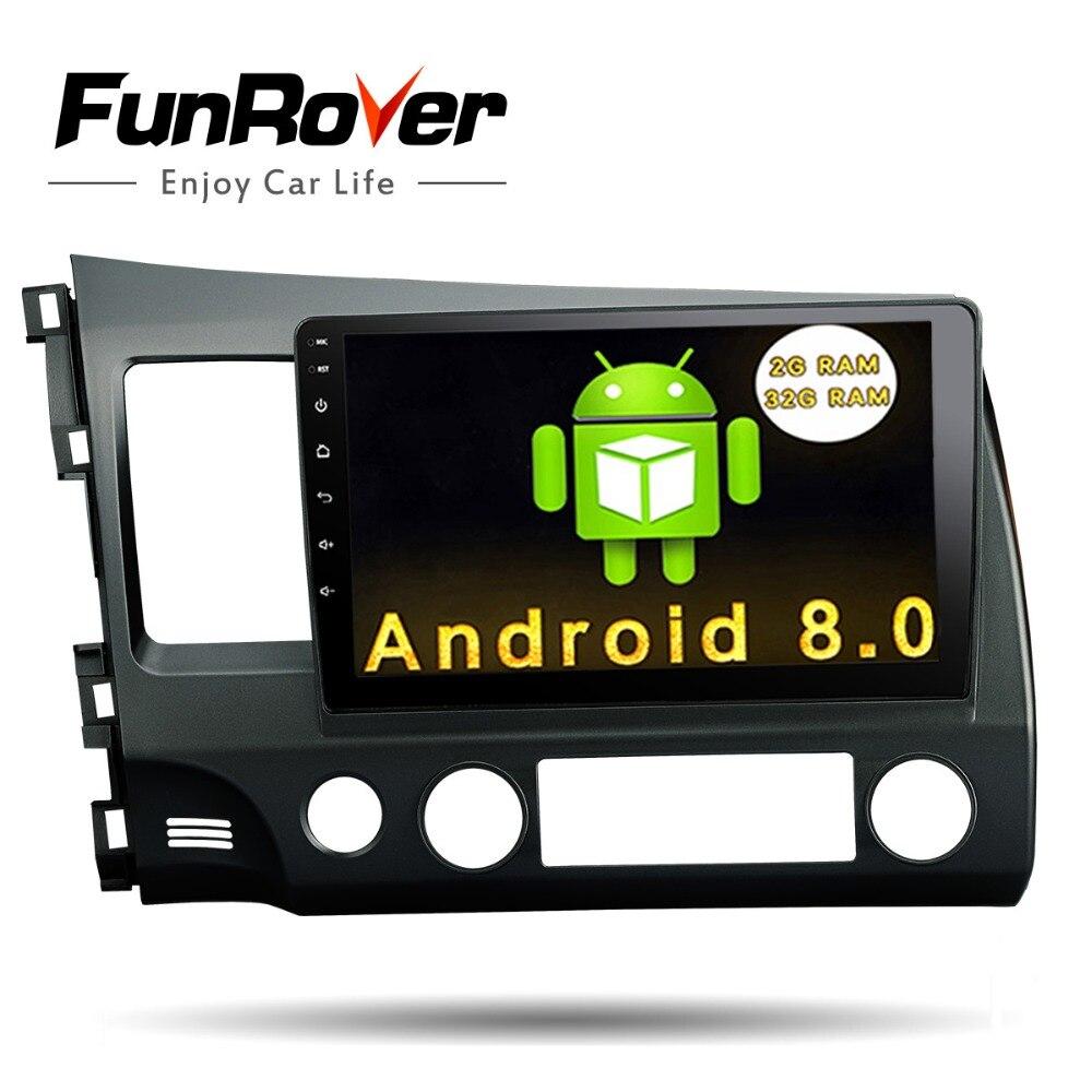 Funrover Android 8.0 2 din Voiture dvd Tête Unité 10.1 pouce pour Honda Civic 2006-2011 GPS Radio bande enregistreur RDS BT wifi usb aucun dvd