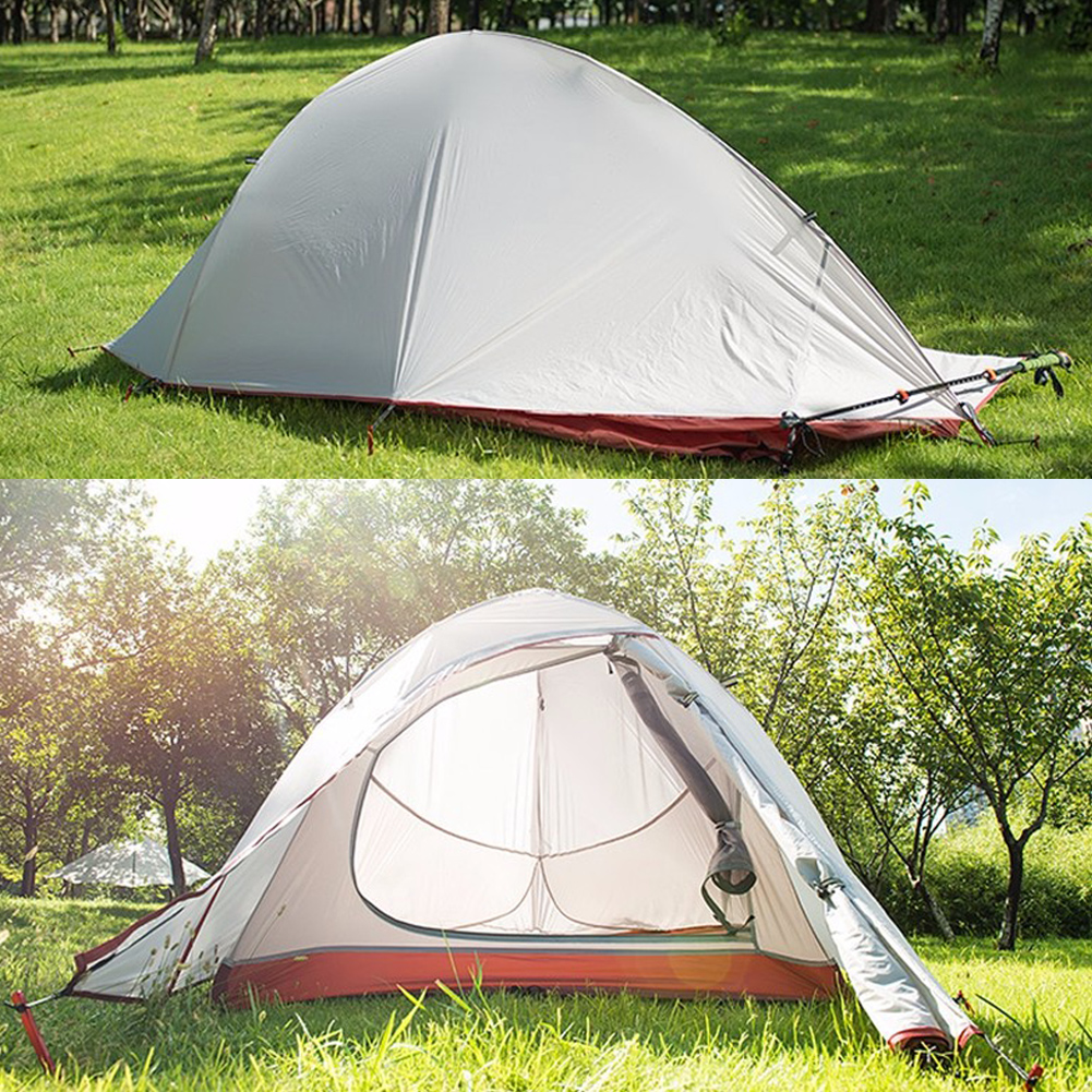 1.5/1.7KG Ultralight 1 Person Double Layers Tent Waterproof UV Protection Aluminum Rod Camping Tent 4 Season With 1 Person Mat good quality flytop double layer 2 person 4 season aluminum rod outdoor camping tent topwind 2 plus with snow skirt