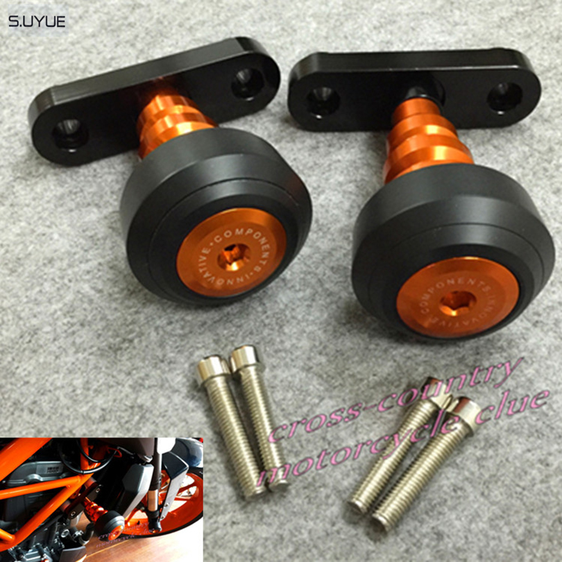 ФОТО S.UYUE New Motorcycle Aluminum Orange Motorbike Left and Right Frame Slider Anti Crash Protector For KTM DUKE 125/200/390