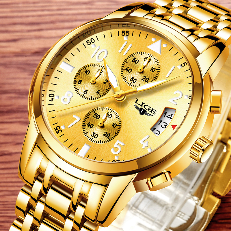 relogio masculino LIGE Mens Watches Luxury Top Brand Fashion Sport Business Quartz Watch Men Full Steel Waterproof Gold Clock new fashion men business quartz watches top brand luxury curren mens wrist watch full steel man square watch male clocks relogio