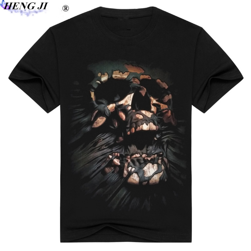 The new mens 3D cross - head printed t-shirts,pure cotton,round collar,personalized printed t-shirts,high quality,free shi