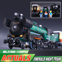 Lepin 21005  1085pcs Technic Series Emerald Night Train Model Building Kit Minifigure Bricks Car Model Toys 10194 Christmas Gift