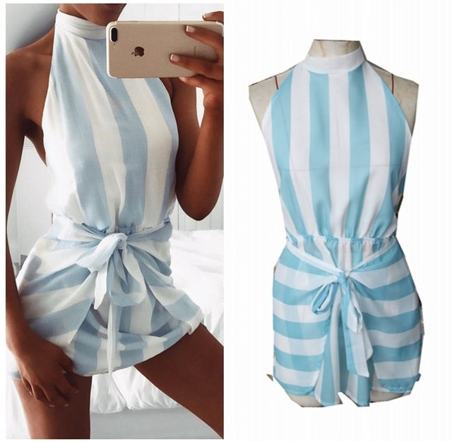 cad163b9e40b Beach Wear Halter Backless Dress Women Striped Blue And White ...