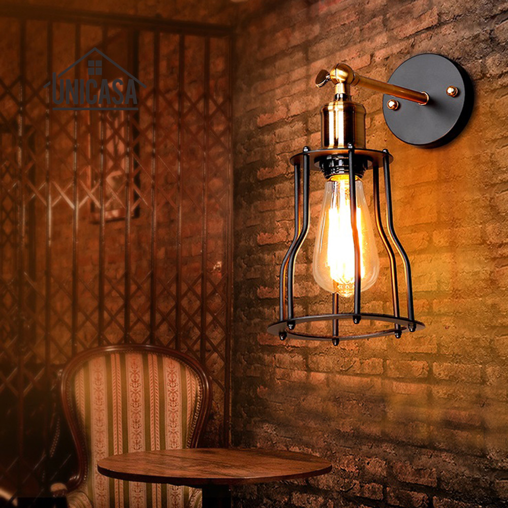 Vintage Wrought Iron Indoor Wall Lights Kitchen Antique Wall Sconce Industrial Chandelier Lighting Black Modern Small LED Lamp